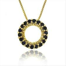 """18k Gold over 925 Silver 3/5ct Sapphire Circle Eternity Pendant, 18"""""""