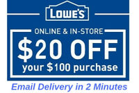THREE 3x Lowes $20 OFF $100 3Coupons-Instore/Online Fast Delivery---------------