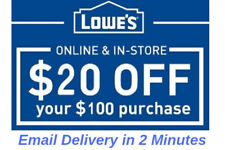 THREE 3x Lowes $20 OFF $100 3Coupons-Instore/Online Fast Delivery-
