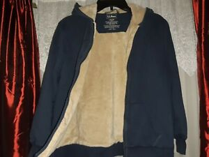 L.L.Bean zIP uP Hoodie Sherpa Lined Sweatshirt Jacket Boy's Large L 14-16