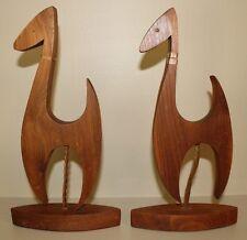 2 Vintage Danish Modern (Dog/Dino?) Wood Sculptures MID CENTURY Hand Carved Woof