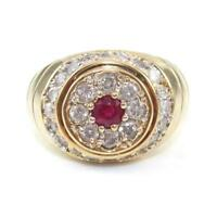 14K Yellow Gold Natural Ruby Diamond Men's Halo Ring Size 9.75