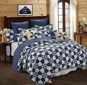 """-""""Hunters Star Navy"""" Printed 3 PC.Quilt Set - Full/Queen Size with Shams 90x90"""
