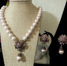 """HEIDI DAUS """"PRETTY POSEY"""" PINK BEADED  NECKLACE & Clip On  EARRINGS SET NWT"""