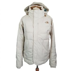 The North Face 550 Womens Goose Down Ski Puffer Jacket Cream Size M Hooded