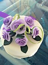 WEDDING CAKE TOPPER SUGAR FLOWER SPRAY OF 6 ROSES IN LILAC, ALSO MOST COLOURS E