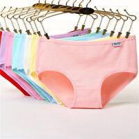Women Cotton Panties Underwear Breathable Candy Color Briefs Underpant Lingerie