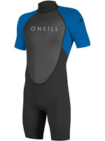 O'Neill Youth Reactor-2 2mm Back Zip Short Sleeve Spring Wetsuit, Black/Ocean, 8