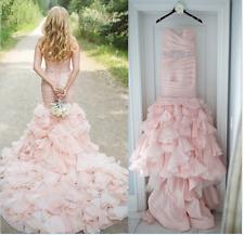 Pink Organza Ruffled Mermaid Wedding Dresses Bridal Gowns Vestidos