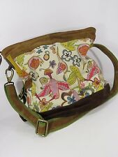 Lucky Brand Messenger Crossbody Bag Vintage Inspired Floral Nature Boho Suede JH