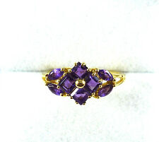 1.00 ct Natural Amethyst Solid 10k Yellow Gold Cluster Ring  size (6 1/2)