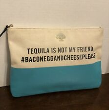 Kate Spade Gia Tequila Is Not My Friend Pouch Clutch Turquoise, PreOwned, rare