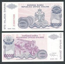 CROATIA 100000 100,000 Dinara 1993 UNC  PR22   REPLACEMENT  Serial prefix  Z