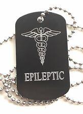 Epileptic SOS Medical Alert ID Black Tag + Steel Chain (P7)