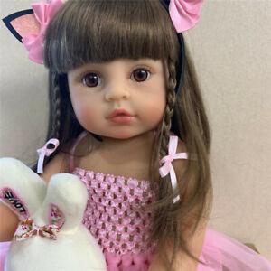 "22"" Reborn Toddler Girl Doll Pink Princess Soft Full Body Silicone Girl Doll"