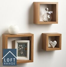 NEW LOFT RANGE OAK CUBE SHELVES SET OF 3 IDEAL FOR DISPLAYING ACCESSORIES
