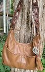 BRIGHTON KODIAK Leather 4 Pocket Tote Lg Carmel Brown Unique strap Shoulder Bag