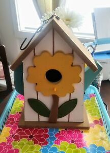 New Super Cute Hanging Wood Teapot Birdhouse with Yellow Flower