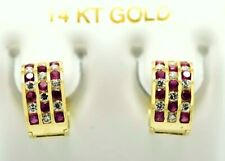RUBY & WHITE SAPPHIRES HUGGIE EARRINGS 14K YELLOW GOLD * Made in USA