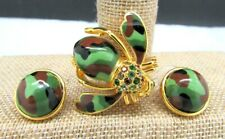 Joan Rivers Camo Bee Earring & Pin Set Epoxy Enamel Swarvoski Crystal New In Box