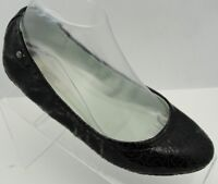 Simply Vera Wang Lily Black Patent Perforated Ballet Flats Casual Shoes Sz 7.5 M