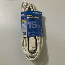 GE 51962 Polarized 3 Outlet Extension Cord 15 ft. White NEW