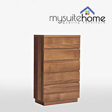 Florence Solid Timber/Blackwood Veneer Chest of Drawers Tallboy Unit Cabinet