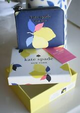 🌸  NWT Kate Spade Cameron Lemon Zest Small L-zip Bifold Leather Wallet Blue New