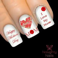 MOTHERS DAY in RED Nail Water Transfer Decal Sticker Art Tattoo