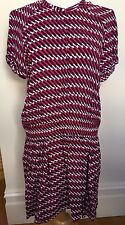 COUNTRY ROAD Pink Black White Geometric Elastic Drop Waist Short Sleeve Dress 14