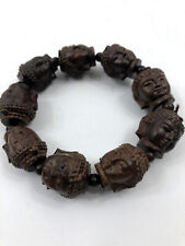 9 Carved Hindu Goddess Head Bead Brown Kwan Yin Jewelry Prayer Beads
