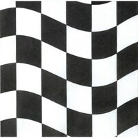 RACING CHECKERED BLACK AND WHITE LUNCH NAPKINS PACK OF 18 PARTY FAVOURS SUPPLIES
