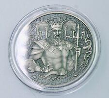 Poseidon ocean emperor 1 oz .999 Silver Coin lost city of Atlantis Antiqued-#661