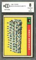 Chicago Cubs Tc Unmarked Team Card 1961 Topps #122 W/ Ernie Banks BGS BCCG 8
