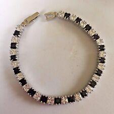 "GB Princess cut black onyx sim diamond 7"" white gold gf tennis bracelet Plum UK"
