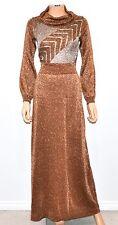 VTG 70'S WENJILLI Bronze Silver Metallic Long Sleeve Cowl Neck Maxi Dress - S/M