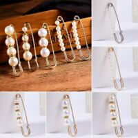 Charm Womens Pearl Crystal Safety Pin Brooch Breastpin Cardigan Clip Wedding NEW