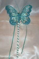 FLOWER GIRL OR BRIDESMAID TEAL AND  IVORY BUTTERFLY WAND WITH CRYSTALS