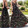Womens Summer V Neck Sleeveless Embroidered Floral Sundress Boho Long Maxi Dress