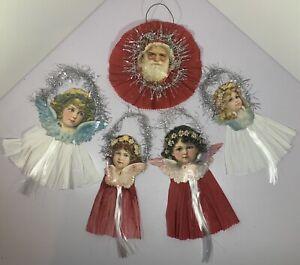 5 VINTAGE LARGE PAPER SCRAP ANGEL & SANTA CLAUS HANGING CHRISTMAS DECORATIONS
