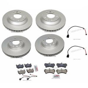 For Porsche Cayenne Turbo Front+Rear Ate Rotors w/ Bosch Pads & Sebro Sensors