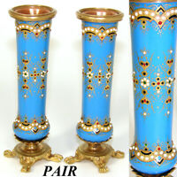 "PAIR Antique French Sevres Enamel 4 3/8"" Miniature Bud Vases, ""Jeweled"" Accents"