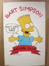 """Vintage 1989 Bart Simpson poster """"Don't have a cow man!"""" tv show comedy 5964"""