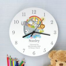 Childrens Personalised Noah's Ark Bedroom Clock - Girls and Boys Name & Message