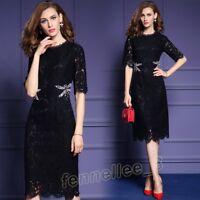 Elegant Women Slim Lace Floral Evening Party Fashion Cocktail Dress Pencil Skirt