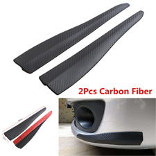 2Pcs Carbon Fiber Car Front Bumper Guard Protection Corner Strip Crash Bar Trim