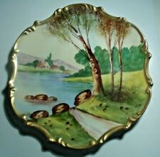 New ListingLimoges Hand Painted Cabinet Plate, House on River, Signed