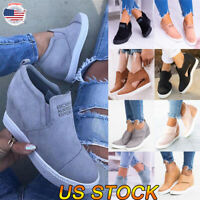 US Women Casual Sneakers Slip On Pumps Shoes Wedge Heel Shoes Sandals Size Set