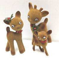 Vintage Christmas Googly Eyed Flocked Reindeer Family Buck Doe and Fawn