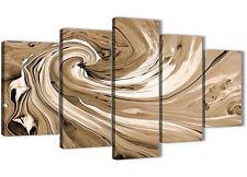 XL Marrone Crema SPIRALI moderno astratto tela art - 5 Panel-larghezza 160 cm - 5349